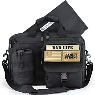 Dad Diaper Bag, Changing Pad, Stroller Straps, Bottle Pouch, Included Patches, Dad Life Messenger Daddy Diaper Bag