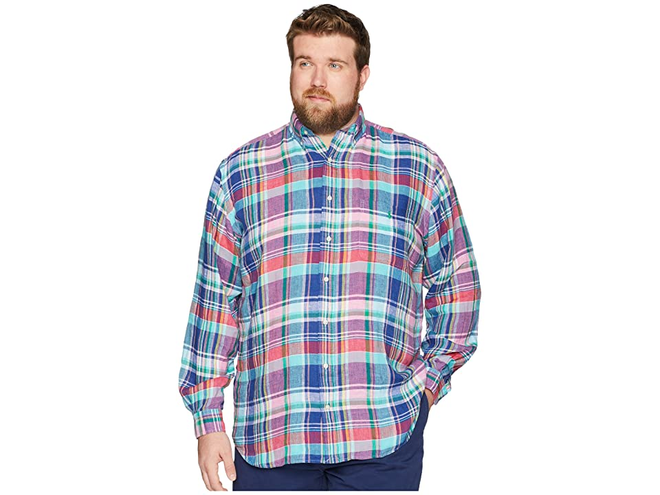 Polo Ralph Lauren Big Tall Linen Long Sleeve Sport Shirt (Aegean Blue/Red Multi) Men