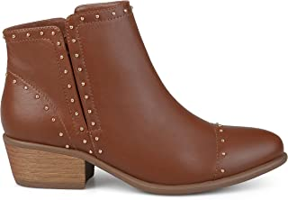 Brinley Co. Womens Ginny Faux Leather Stacked Heel Studded Ankle Boots