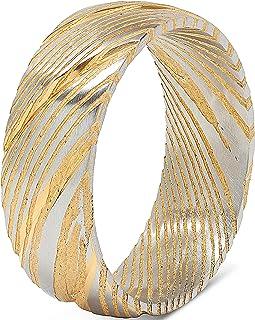 100S مجوهرات دمشقية الصلب خاتم الرجال الزفاف اثنين من لهجة الذهب الفضة قبة الراحة صالح الحجم 8-16