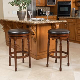 Christopher Knight Home Paxx Chocolate Brown Bycast Leather Barstools (Set of 2)