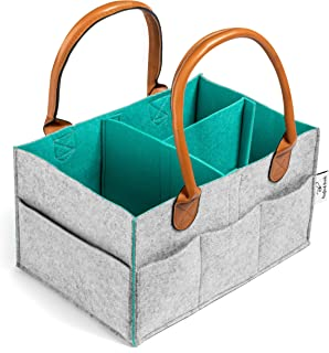 Rexford Brody Diaper Caddy Organizer - Extra Sturdy Double-Wall Felt Construction with Thick Leather Handles - Use for Any Portable Storage Needs - Stylish & Modern Two-Color Design