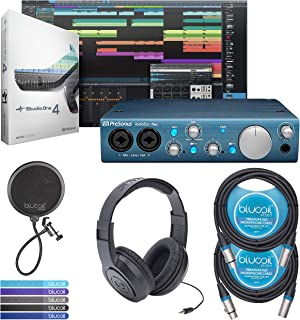 PreSonus AudioBox 2x2 USB/Recording System Bundled With Studio One Recording Software, Studio Magic Plug-in Suite AND Blucoil 10-Ft XLR Cable