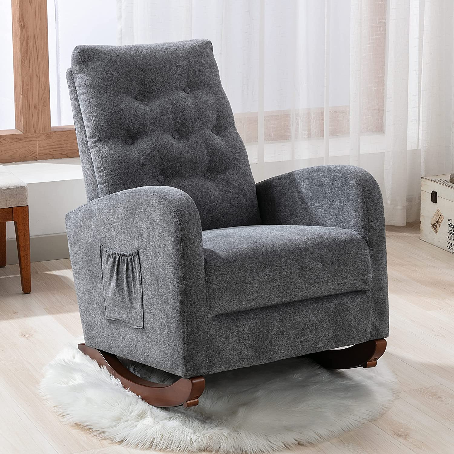 Sale Special Price Rocking Accent Outstanding Chair Tufted Upholstered Cotton Luxury Lounge Ch