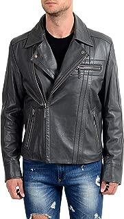 Versace Jeans 100% Leather Gray Men's Full Zip Basic Jacket US M IT 50