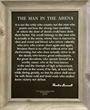 Desiderata Gallery Brand - Framed Words of Wisdom by Theodore Roosevelt Signature Collection-The Man in The Arena 14x17 Whitewash MDF Wood