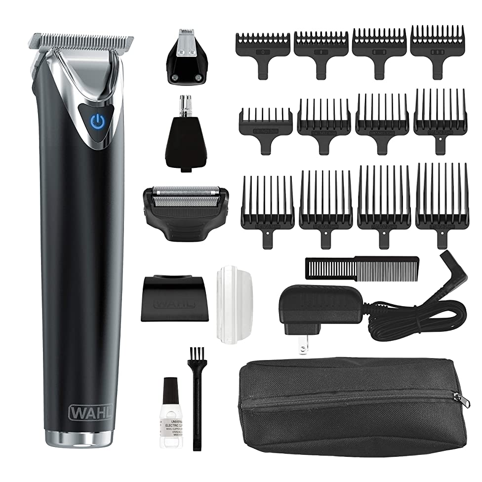 Wahl Clipper Stainless Steel Lithium Ion Plus Beard Trimmer Kit Black No.9864K Cordless Rechargeable Men's Grooming Kit for Haircuts and Beard Trimming