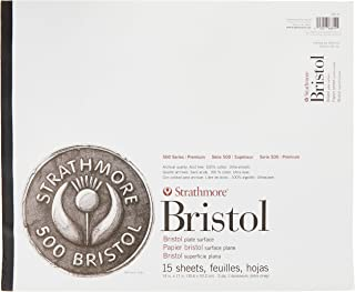 """Strathmore (580-92 500 Series Bristol, 2-Ply Plate Surface, 14""""x17"""", 15 Sheets"""