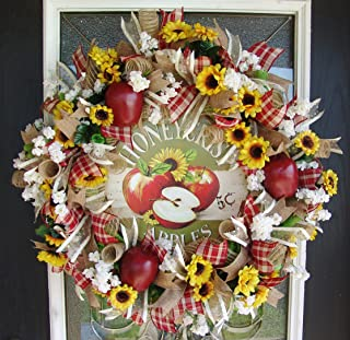 Darling Country Apple Deco Mesh Front Door Wreath, Autumn Fall Thanksgiving Decor, Farmhouse Home House Decoration, Indoor Outdoor, Porch Patio