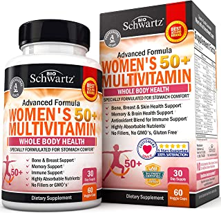 Daily Multivitamin for Women 50 & Over – Memory Support Supplement – Promotes Stress Reduction & Healthy Immune Response –...