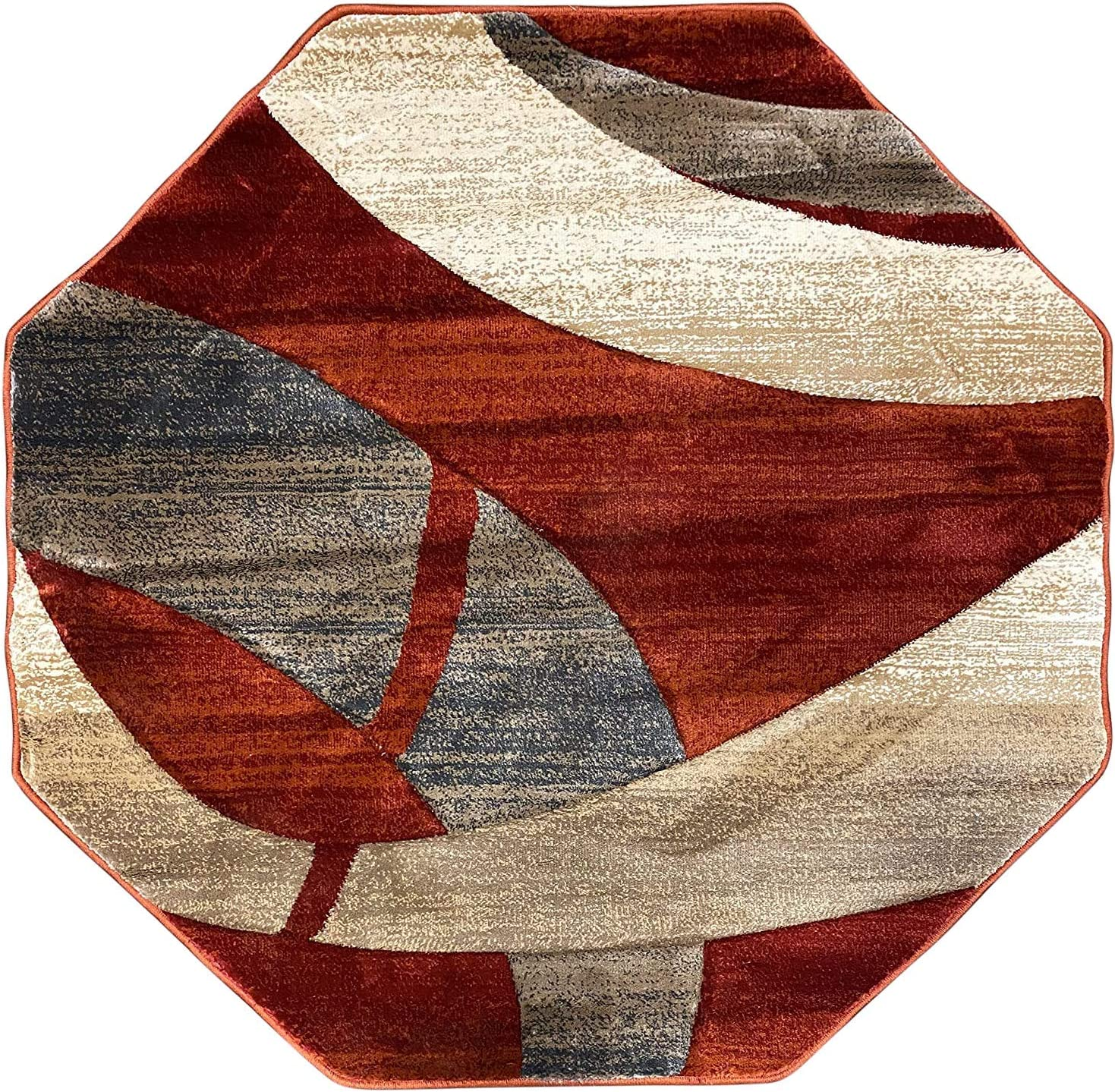 Modern Octagon Contemporary Area Rug quality assurance Beige Red Rust Terra-Cotta Max 65% OFF