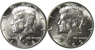 1968 D & 1969 D 40% Silver Kennedy Half Dollar Set Brilliant Uncirculated