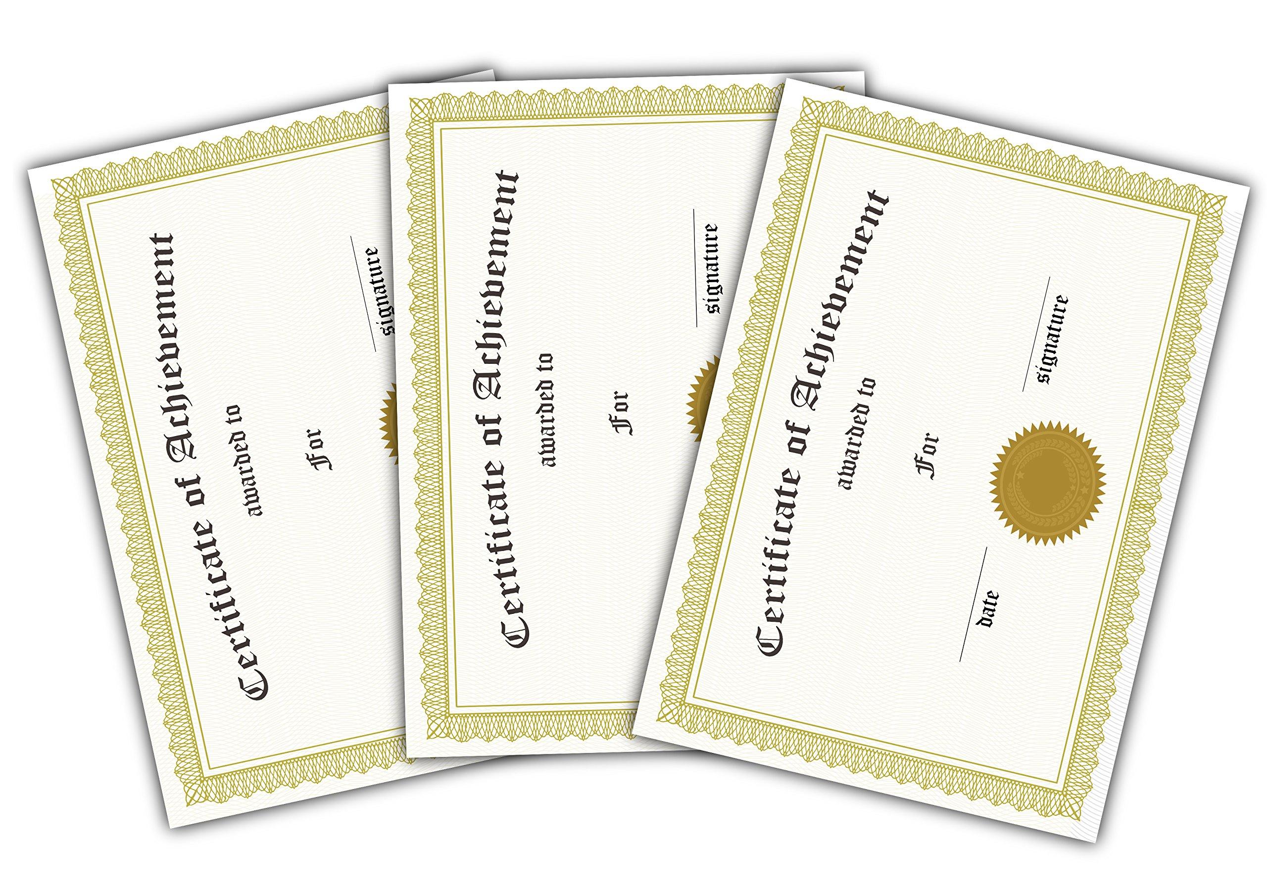 Certificate of Achievement Gold Filigree Landscape A5 Pack of 12