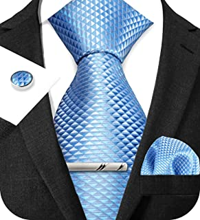 TIE G Stripe Plaid Mens Ties Set in Black Gift Box: Necktie and Pocket Square, Cufflinks, Tie Clip Formal Business Wedding