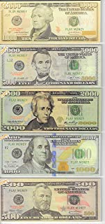 Custom Toys & Hobbies $10,00 5,000 2,000 1,000 500 X20 EA. Play Money Copy Fake NOT Legal Size 2.3x5.5in. ONE Side ONLY