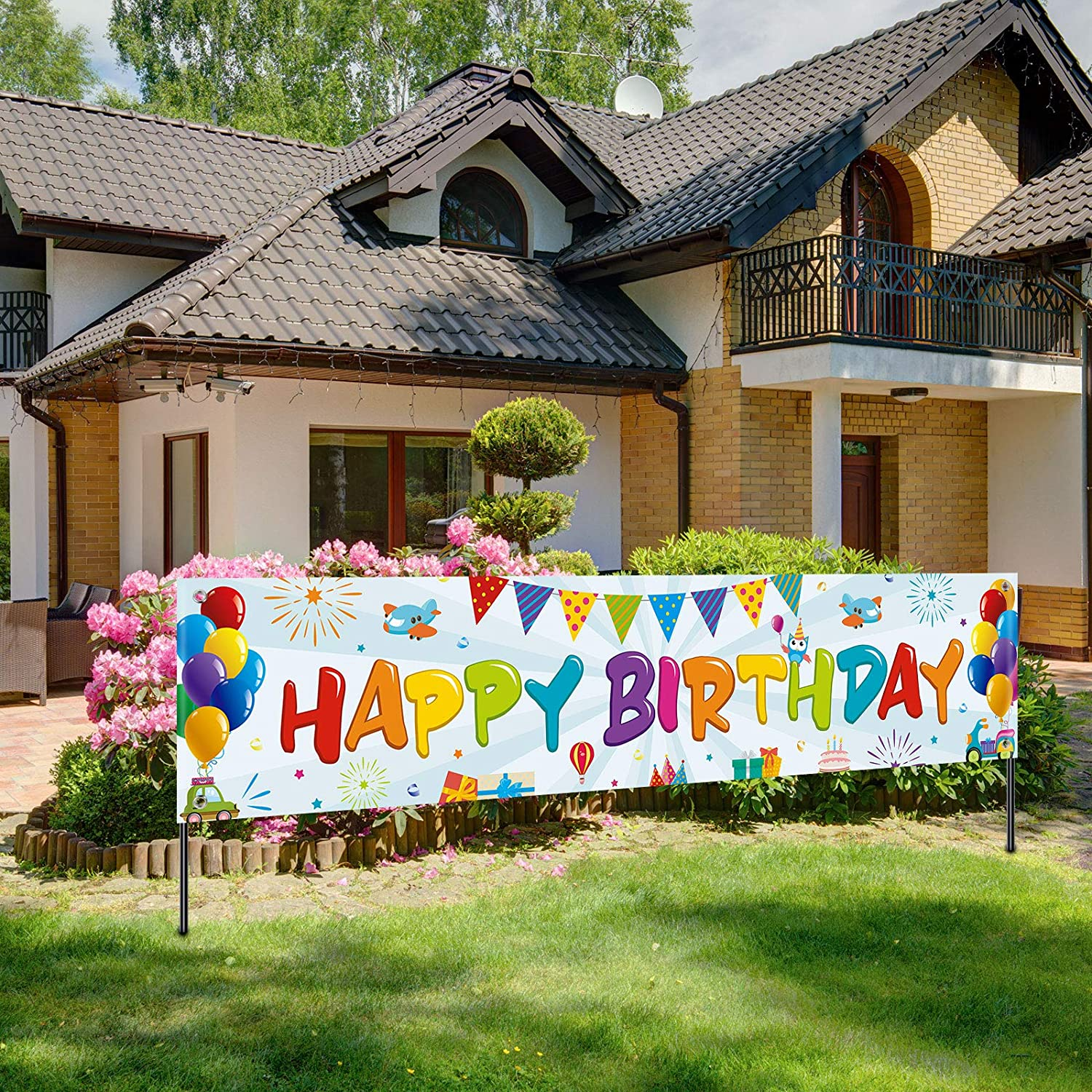 Colorful Happy Birthday Banner, Large Fabric Happy Birthday Sign Backdrop Background, Happy Birthday Yard Sign for Kids Birthday Party Decorations Girls Boys Bday Decor, 71 x 15.7 inches (Light)