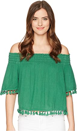 Double Gauze Short Sleeve Smocked Cropped Top with Tassels