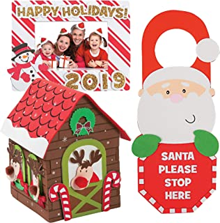 "Holiday Craft Kit DIY | 3D Reindeer Stable Foam House, Happy Holidays Dated Picture Frame Magnet & ""Santa Stop Here"" Doorknob Hanger 