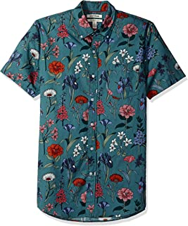 Amazon Brand - Goodthreads Men's Slim-Fit Short-Sleeve Printed Poplin Shirt