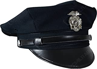 US Police 8 Point Visor Cap - Dark Blue (Large)