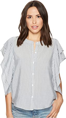 Splendid - Paradise Cove Indigo Stripe Ruffle Short Sleeve Top