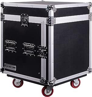Sound Town 10U PA DJ Pro Audio Rack/Road ATA Case with 13U Slant Mixer Top, 23.5'' Rackable Depth and Casters, 10 Space Size (STMR-10UW)