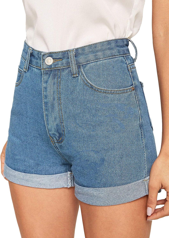 Milumia Women's Casual Mid Waist Rolled Hem Denim Jean Shorts with Pockets