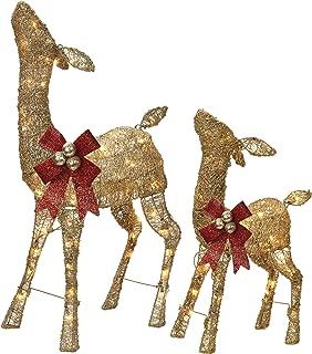NOMA Pre-Lit Light Up Glitter Deer Set   Christmas Holiday Lawn Decoration   Indoor/Outdoor   2.8' & 2' Feet Set   2 Pack