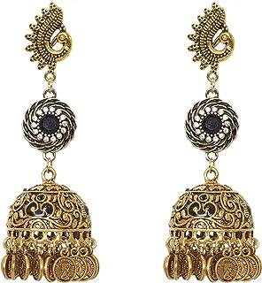 Sansar India Gold Plated Oxidised Metal Zircon Long Jhumka Earrings for Girls and Women, Black