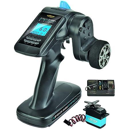 Carson 500500056 FS 3K ReflexWheel Pro3 LCD 2.4G étanche-Accessoires de véhicule, Compatible pour Kits, modélisme, y Compris récepteur, RC, 2 télécommandes 4 GHz, Noir