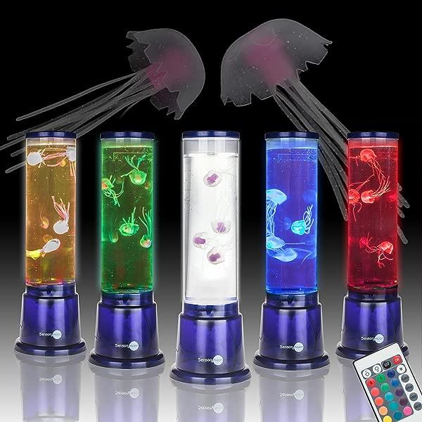 SensoryMoon 水母灯水族馆情绪灯 W 大型 14 缸 4 假果冻鱼和 20 LED 彩色遥控器是完美的夜灯桌面艺术装饰或儿童电熔岩灯