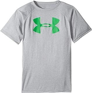 Under Armour Kids Boy's UA Tech¿ Big Logo S/S Tee (Big Kids) Steel Light Heather/Lime Twist T-Shirt