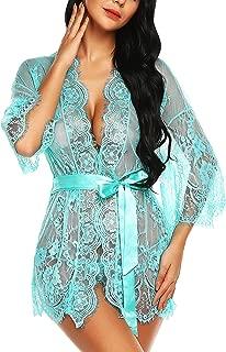 RSLOVE Women's Lace Kimono Robe Lingerie Eyelash Babydoll Sheer Nightwear