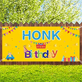 Sunshine Happy Birthday Yard Sign, HONK IT'S My Birthday Quarantine Banner 71''x40'', Large Fabric Hanging Flags Decorations for Kids Outdoor Indoor