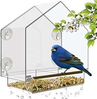 Window Bird Feeder - Large Bird House for Outside. Removable Sliding Tray with Drain Holes. Best for Wild Birds. 100% Clear Acrylic. Easy to Clean. Great Gift. Guaranteed For All Weather