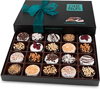 Oh! Nuts Chocolate Covered Cookie Gift Baskets, 20 Variety Gourmet Assortment Set Holiday Food Sandwich Cookies, Prime Chr...