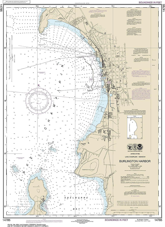 NOAA Chart 14785 Burlington Harbor  32.43  X 23.5  Laminated Map