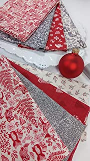 Scandi 2019 Scandinavian Red and Gray Christmas Fabric Andover Fabrics ~ 8 Fat Quarters Bundle ~ 2 Yards Total
