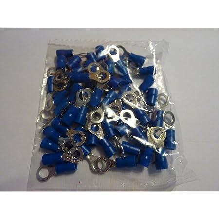 50 Stück Kabelschuh Blau Ring M 5 Für Kabel 1 5 2 5 Mm Ringoese Auto