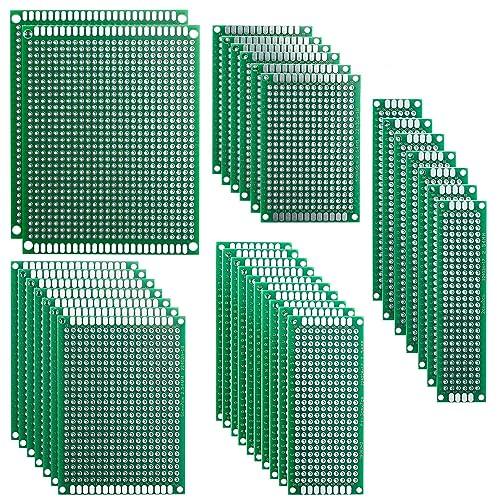 Elegoo 32 Piezas Doble Cara Junta de PCB Doble Cara Tarjeta Placa Prototipo Kit para Soldadura