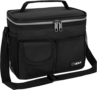 OPUX Lunch Bag Insulated Lunch Box for Women, Men, Kids | Medium Leakproof Lunch Tote Bag for School, Work | Lunch Cooler with Shoulder Strap, Pocket | Fits 14 Cans Standard Black