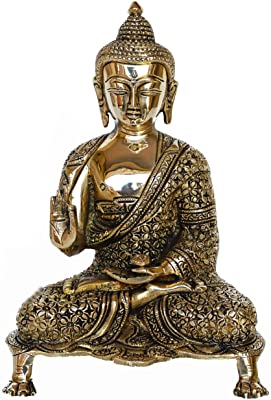 Aakrati Glossy Antique Finished 9 inch Meditating Brass Buddha Figurine Showpiece for Home Temple or Decoration