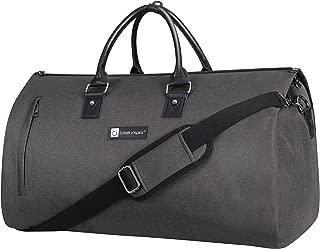Large Garment Duffle Bag Convertible Fit XL Size Suit Weekend Travel Carrier with Quick Access Shoe Poch, Black