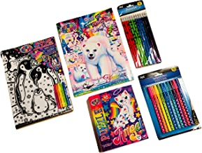 Arts and Crafts Activity Pack for Kids, Lisa Frank Artwork Designs: 48-Piece Puzzle, Coloring & Activity Book, Velvet Art Poster Board, 12 Shimmery Pencils, 10 Zigzag pens; 5-pc