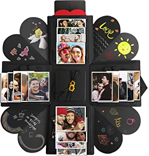 Creative Explosion Gift Box,DIY Handmade Photo Album Scrapbooking Gift Box for Valentine's Day,Birthday Party,Mother's Day & Engagement Anniversary Surprise Box (Black) (Four Sides)
