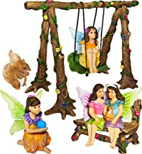 Fairy Garden - Accessories Kit with Miniature Figurines - Hand Painted Swing Set of 6 pcs - for Outdoor or House Decor