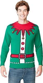 New Camp Ltd Christmas Xmas 2018 Mens Jumper Novelty Fairisle Santa Party Sweater Jumper Womens Unisex Emerald ELF Bells E...