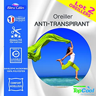 Bleu Calin Lot de 2 oreillers Anti Transpiration Topcool 60 x 60 cm