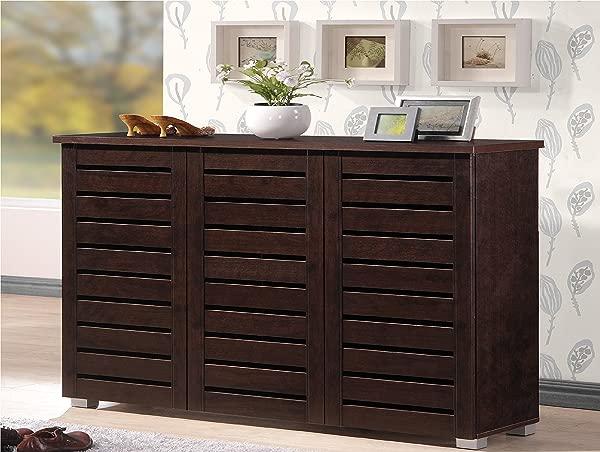 Baxton Studio Wholesale Interiors Adalwin Modern And Contemporary 3 Door Dark Brown Wooden Entryway Shoes Storage Cabinet