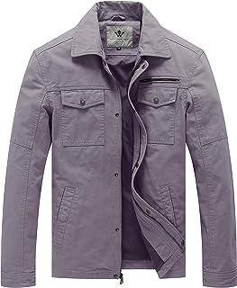 Sponsored Ad - WenVen Men's Casual Canvas Cotton Military Lapel Jacket